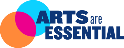 """Arts Are Essential written in bold blue text with concentric circles in orange, pink and turquoise overlapping with the """"A"""" in Arts."""